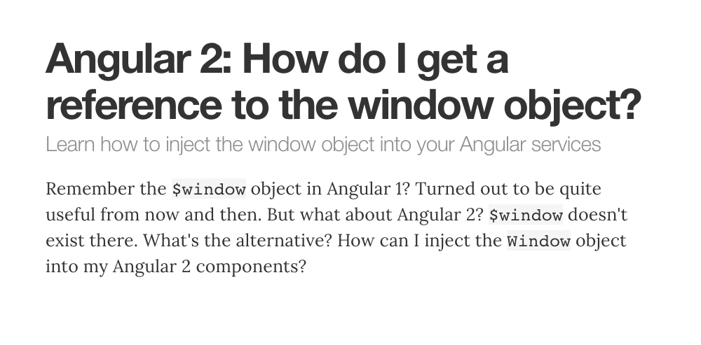 Angular: How do I get a reference to the window object? | juri dev