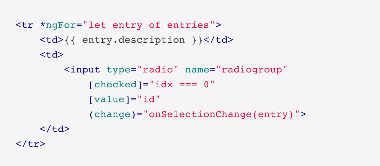 Data bind radio button lists with Angular | juri dev